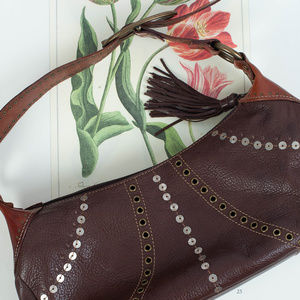 FOSSIL Brown Leather Hobo Handbag